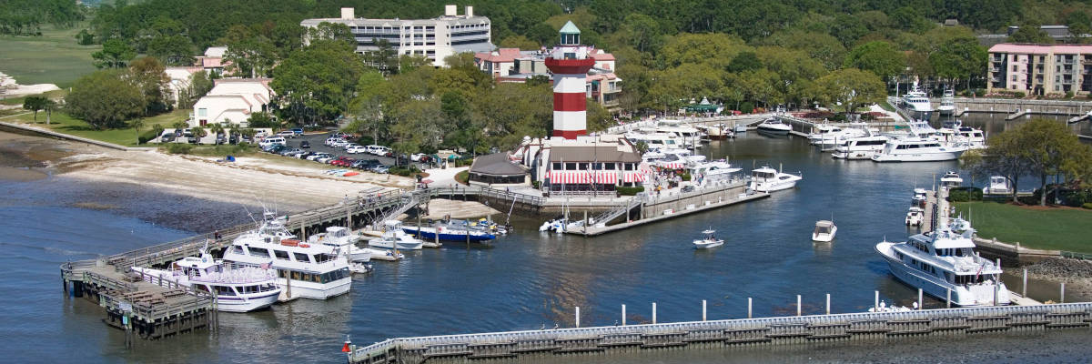 Aerial view of Hilton Head lighthouse and marina